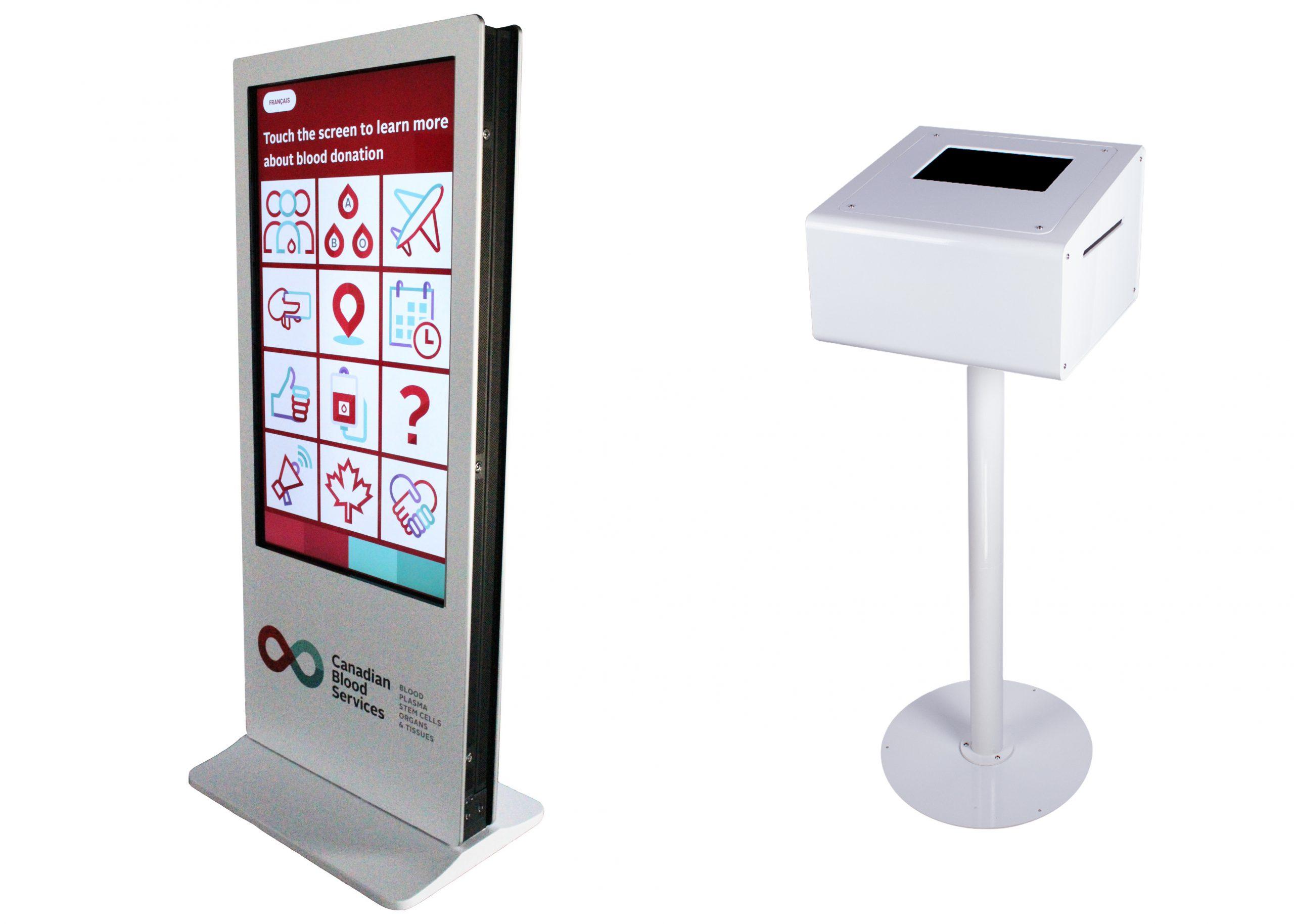 branded kiosk 45 screen on print